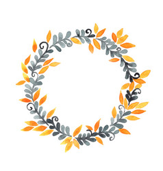 dark grey fern and yellow leaves wreath watercolor vector image