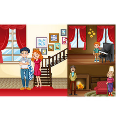 Family members in different rooms of the house vector