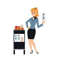 female flight attendant serving drinks from food vector image
