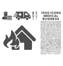 Fire Damage Icon with 1000 Medical Business vector