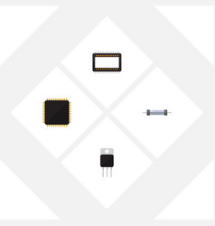 flat icon electronics set of receiver resistor vector image