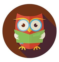 Flat wisdom bird owl reading book circle icon vector