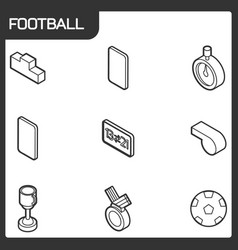 Football outline isometric icons vector