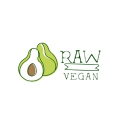 Fresh Vegan Food Promotional Sign With Avocado For vector