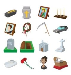 Funeral and burial cartoon icons vector