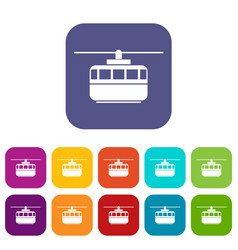 Funicular icons set vector