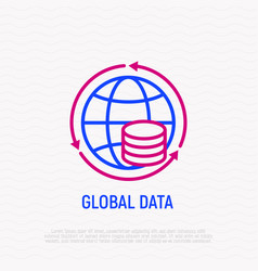 global data thin line icon vector image