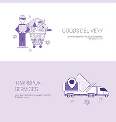 goods delivery and transport services template web vector image