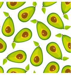 green avocado flat vegetable seamless pattern vector image