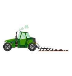 green farm tractor cultivates land heavy vector image