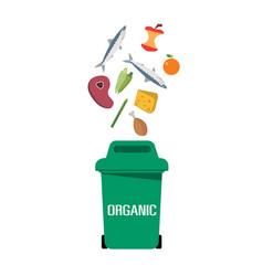 green garbage organic bin white background vector image