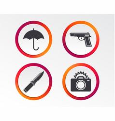 gun weapon knife umbrella and photo camera vector image