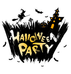 halloween party background with moon witch and vector image