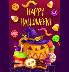 Halloween trick or treat candy pumpkin witch hat vector
