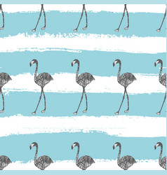 hand drawn flamingo in pencil seamless pattern vector image