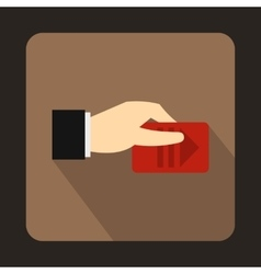 Hand with parking ticket icon flat style vector