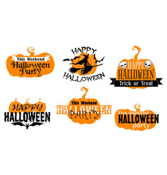 happy halloween isolated icons with typography set vector image