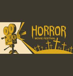 Horror movie festival poster for scary cinema vector