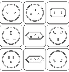 Icon Set of international electric sockets vector