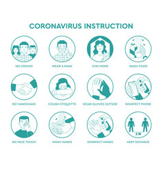 infographic icons coronavirus instruction vector image