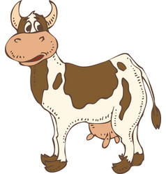 isolated spotted cow vector image