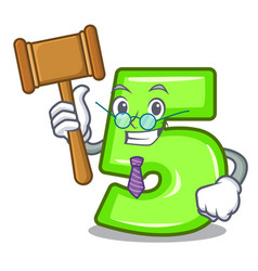 Judge cartoon number five engraved on stone vector
