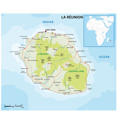 La reunion road and national park map vector