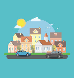 Landscape historic city with cars vector