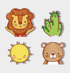 lioand and bear with nature cute cartoons vector image