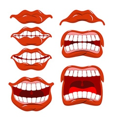 Lips set of emotions shouts and joy shouting and vector