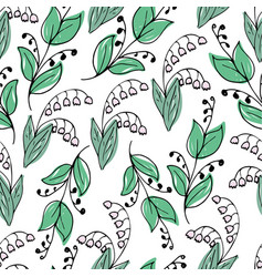 lovely hand-drawn seamless pattern with lilies vector image