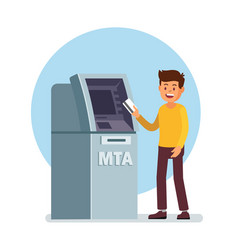 man using atm machine vector image