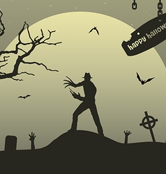 man with claws on upland on halloween vector image