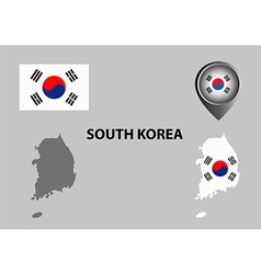 Map of South Korea and symbol vector image