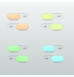 modern glossy colorful on off switch set vector image