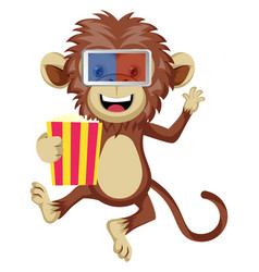 monkey with 3d glasses on white background vector image