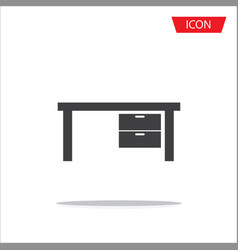 office table icon office desk icon isolated on vector image