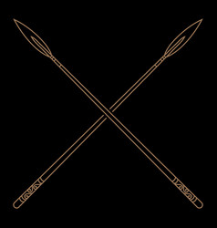 old norse viking design two crossed battle vector image