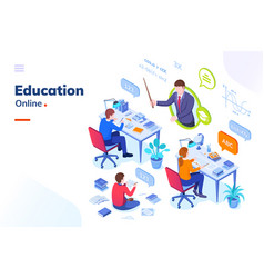 online education school online learning lessons vector image