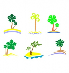 palm tree set vector image