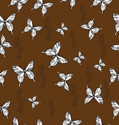 Pattern with butterflies and flowers not seamless vector image