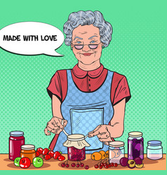pop art senior woman making jam healthy eating vector image