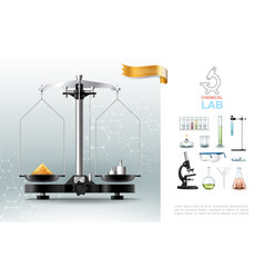 Realistic chemical lab elements composition vector