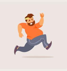 running fat man vector image