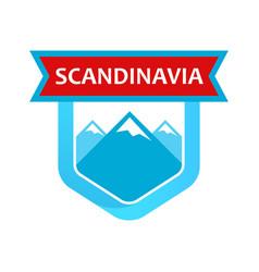 scandinavian rocks on emblem vector image