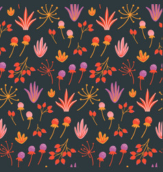 seamless floral pattern with hand drawn wild vector image
