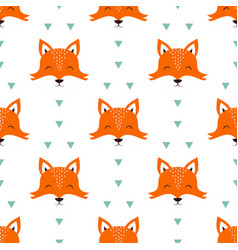 seamless pattern with fox isolated on white vector image