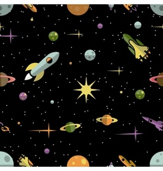 Seamless pattern with planets rockets and stars vector