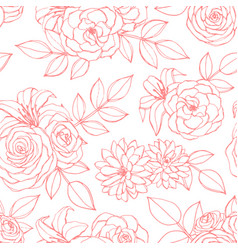 seamless pattern with rose lily peony flowers vector image