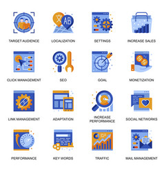 Seo icons set in flat style vector